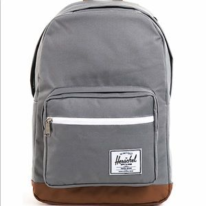 Herschel grey and leather backpack